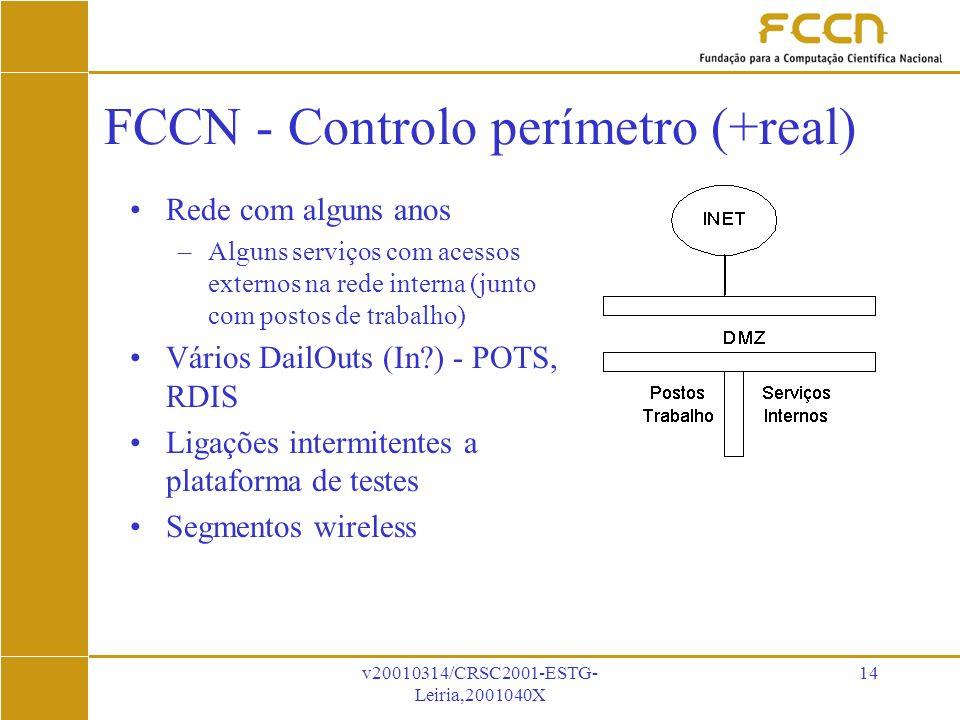 v20010314/CRSC2001-ESTG- Leiria,2001040X 14 FCCN - Controlo perímetro (+real) Rede com alguns anos –Alguns serviços com acessos externos na rede interna (junto com postos de trabalho) Vários DailOuts (In ) - POTS, RDIS Ligações intermitentes a plataforma de testes Segmentos wireless