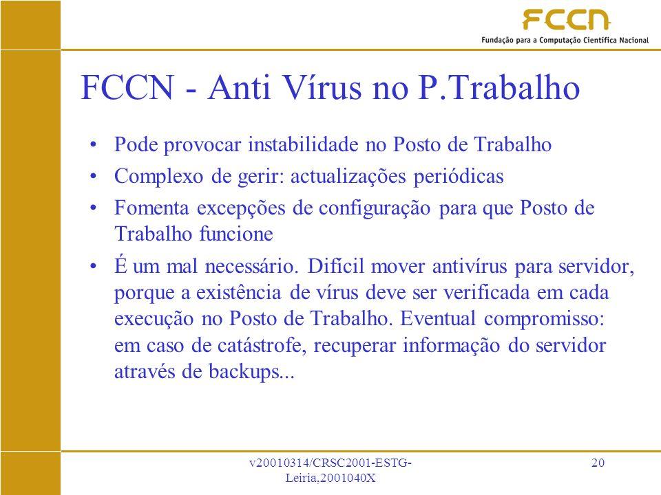 v20010314/CRSC2001-ESTG- Leiria,2001040X 20 FCCN - Anti Vírus no P.Trabalho Pode provocar instabilidade no Posto de Trabalho Complexo de gerir: actualizações periódicas Fomenta excepções de configuração para que Posto de Trabalho funcione É um mal necessário.