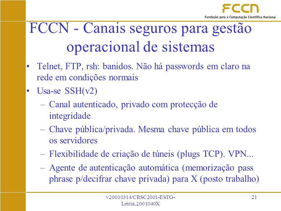 v20010314/CRSC2001-ESTG- Leiria,2001040X 21 FCCN - Canais seguros para gestão operacional de sistemas Telnet, FTP, rsh: banidos.