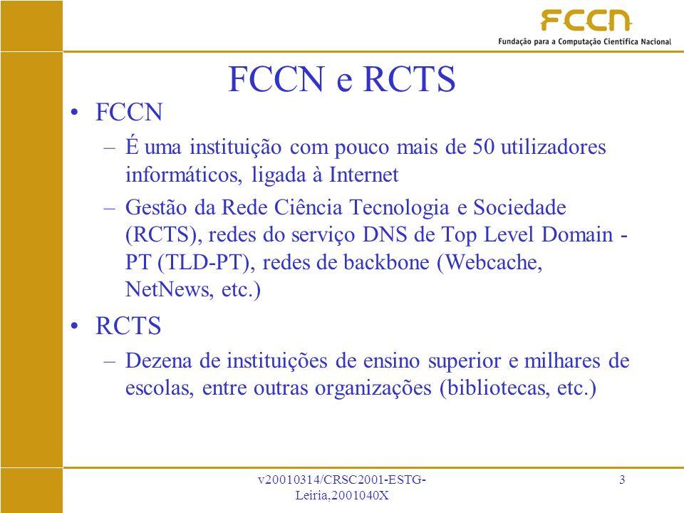 v20010314/CRSC2001-ESTG- Leiria,2001040X 3 FCCN e RCTS FCCN –É uma instituição com pouco mais de 50 utilizadores informáticos, ligada à Internet –Gestão da Rede Ciência Tecnologia e Sociedade (RCTS), redes do serviço DNS de Top Level Domain - PT (TLD-PT), redes de backbone (Webcache, NetNews, etc.) RCTS –Dezena de instituições de ensino superior e milhares de escolas, entre outras organizações (bibliotecas, etc.)