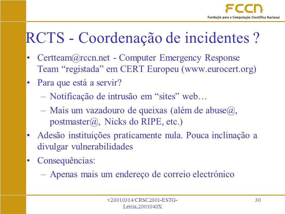v20010314/CRSC2001-ESTG- Leiria,2001040X 30 RCTS - Coordenação de incidentes .