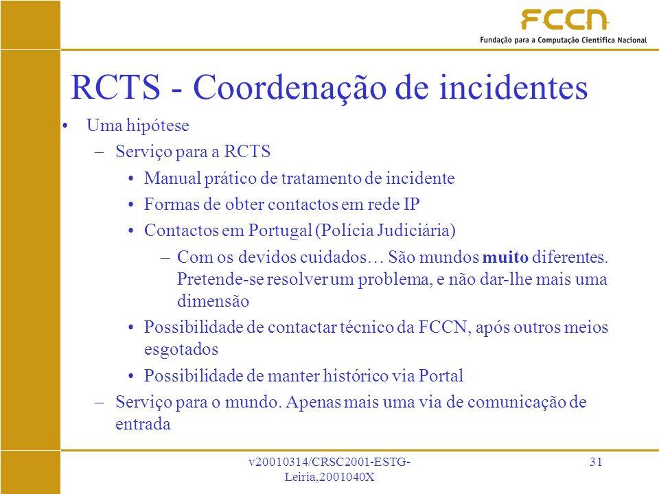 v20010314/CRSC2001-ESTG- Leiria,2001040X 31 RCTS - Coordenação de incidentes RCTS - Coordenação de incidentes .