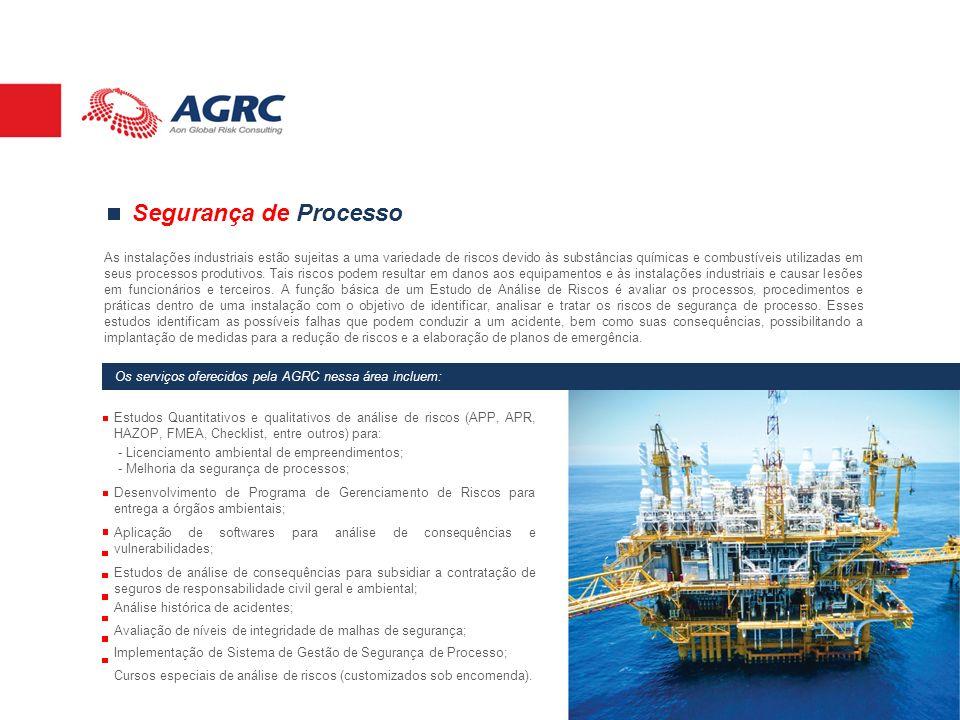 Segurança de Processo As instalações industriais estão sujeitas a uma variedade de riscos devido às substâncias químicas e combustíveis utilizadas em