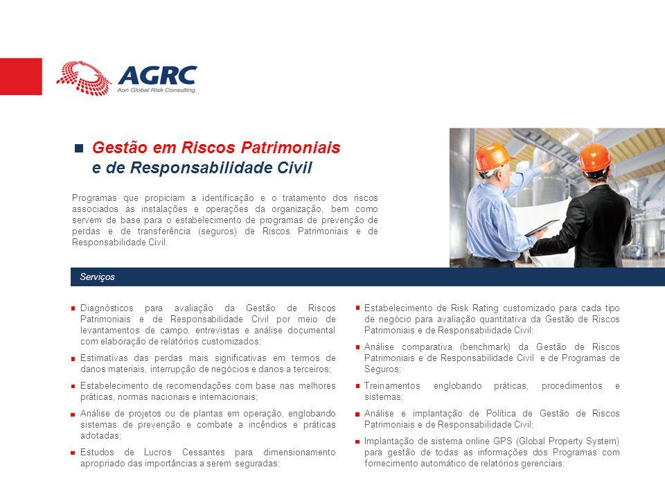 Serviços Gestão em Riscos Patrimoniais e de Responsabilidade Civil Programas que propiciam a identificação e o tratamento dos riscos associados às ins