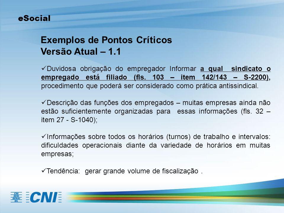 eSocial Exemplos de Pontos Críticos Versão Atual – 1.1 Duvidosa obrigação do empregador Informar a qual sindicato o empregado está filiado (fls. 103 –