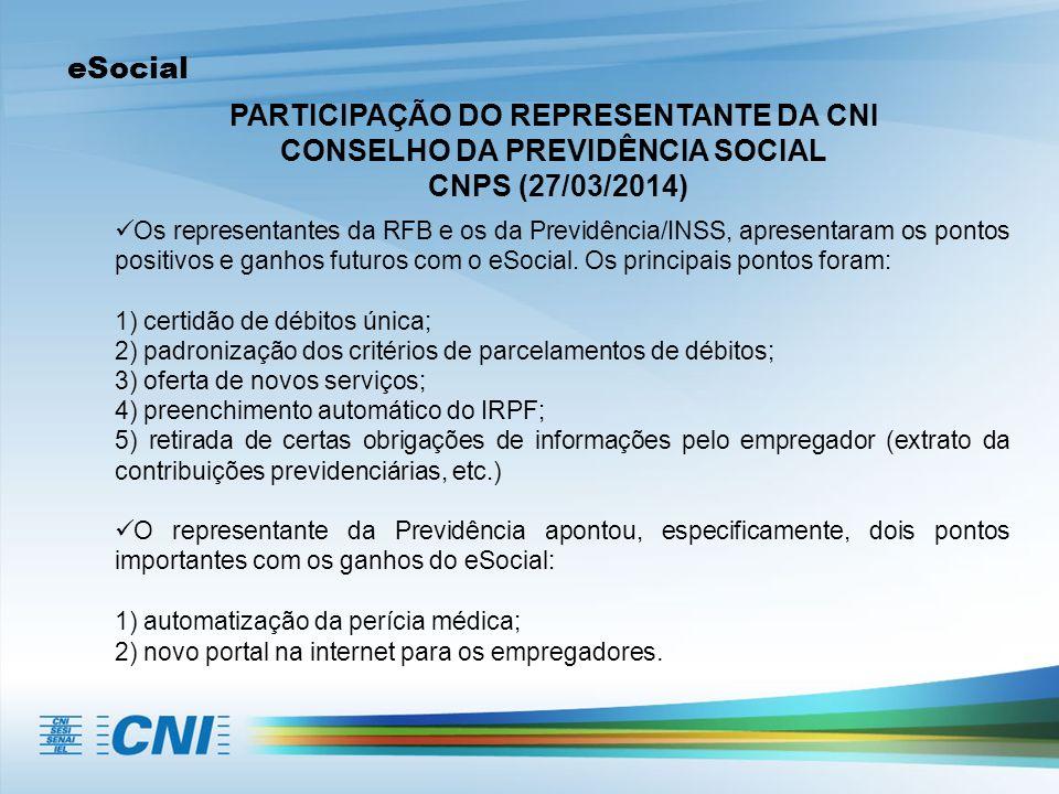 eSocial PARTICIPAÇÃO DO REPRESENTANTE DA CNI CONSELHO DA PREVIDÊNCIA SOCIAL CNPS (27/03/2014) Os representantes da RFB e os da Previdência/INSS, apresentaram os pontos positivos e ganhos futuros com o eSocial.