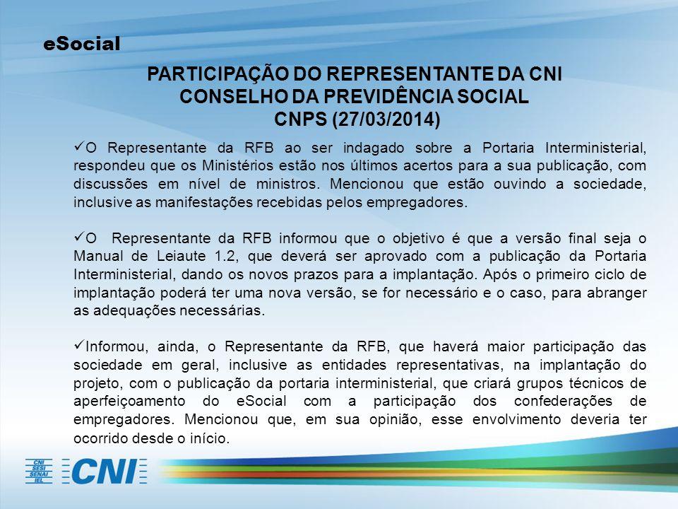 eSocial PARTICIPAÇÃO DO REPRESENTANTE DA CNI CONSELHO DA PREVIDÊNCIA SOCIAL CNPS (27/03/2014) O Representante da RFB ao ser indagado sobre a Portaria