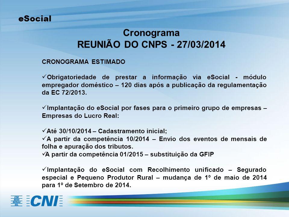 eSocial Cronograma REUNIÃO DO CNPS - 27/03/2014 CRONOGRAMA ESTIMADO Obrigatoriedade de prestar a informação via eSocial - módulo empregador doméstico – 120 dias após a publicação da regulamentação da EC 72/2013.