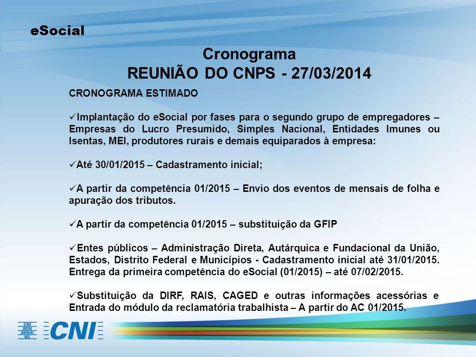 eSocial Cronograma REUNIÃO DO CNPS - 27/03/2014 CRONOGRAMA ESTIMADO Implantação do eSocial por fases para o segundo grupo de empregadores – Empresas d