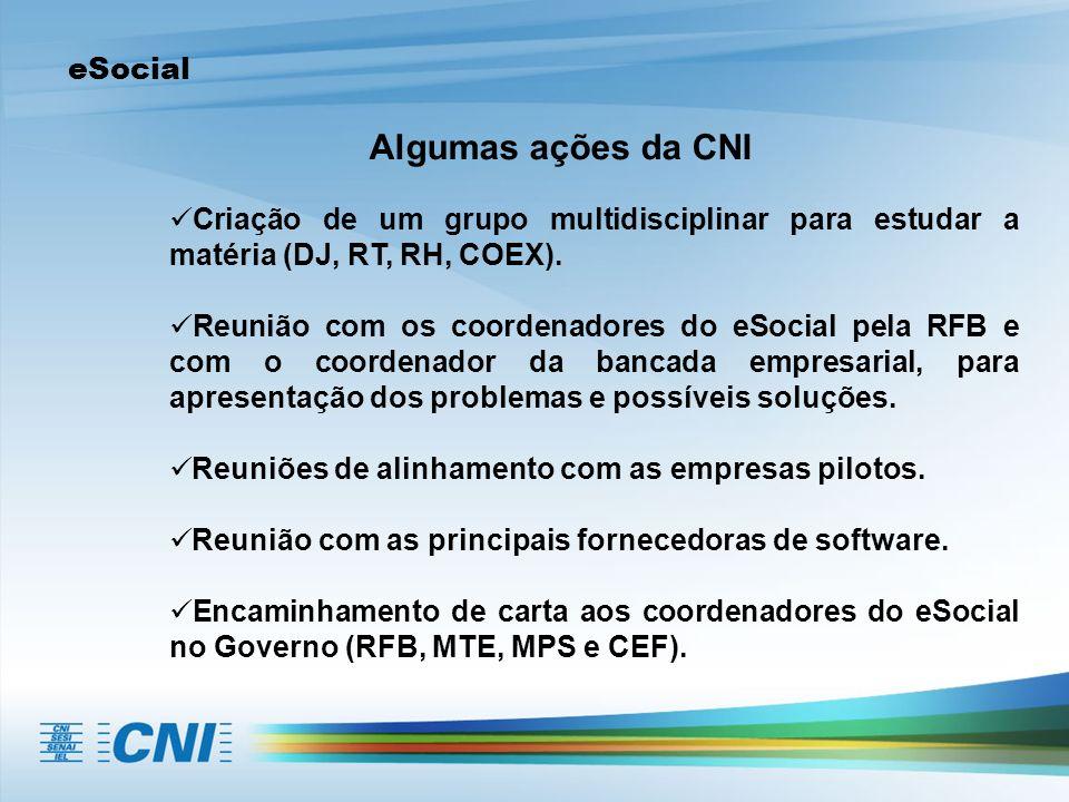 eSocial Algumas ações da CNI Criação de um grupo multidisciplinar para estudar a matéria (DJ, RT, RH, COEX). Reunião com os coordenadores do eSocial p