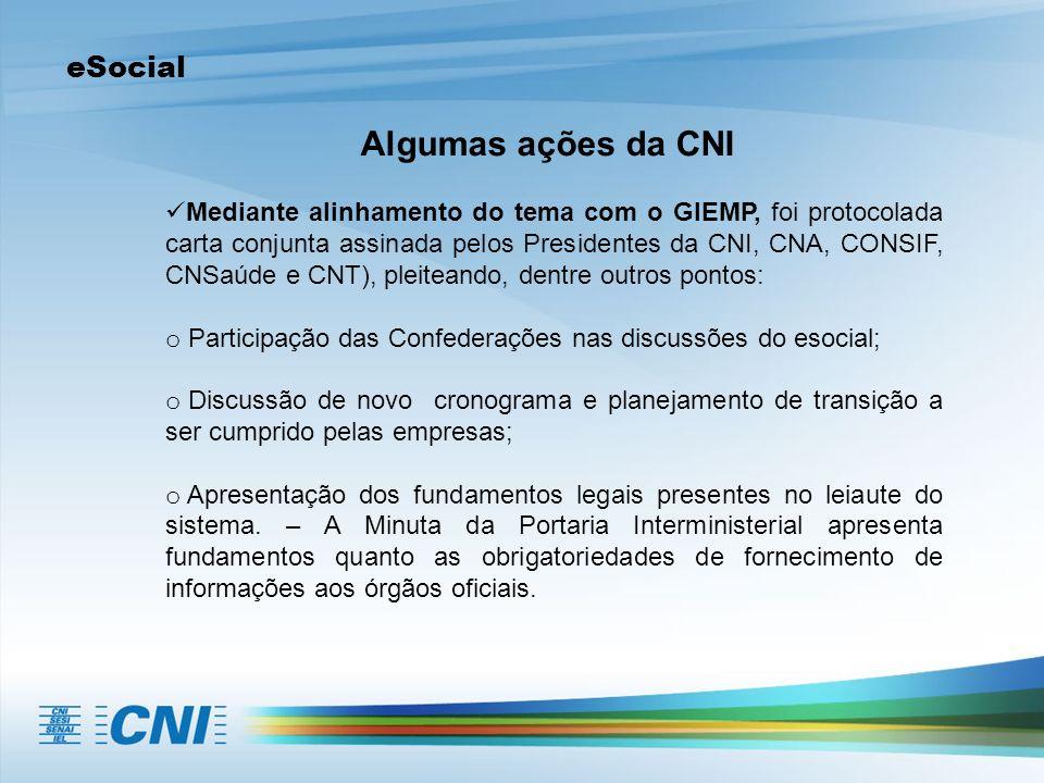 eSocial Algumas ações da CNI Mediante alinhamento do tema com o GIEMP, foi protocolada carta conjunta assinada pelos Presidentes da CNI, CNA, CONSIF,