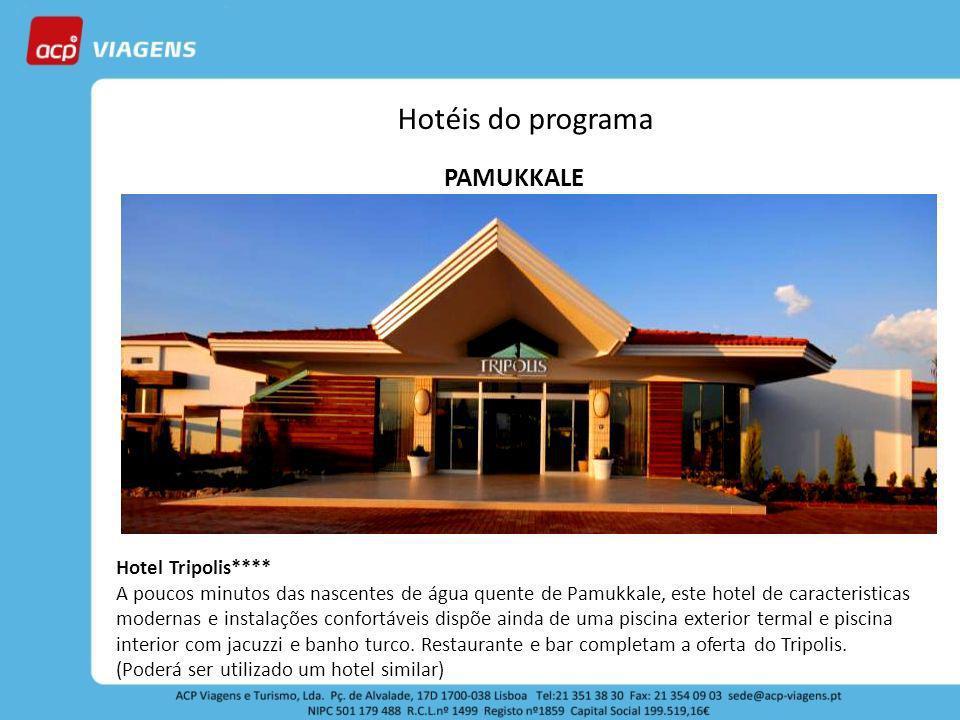 Hotéis do programa PAMUKKALE Hotel Tripolis**** A poucos minutos das nascentes de água quente de Pamukkale, este hotel de caracteristicas modernas e i