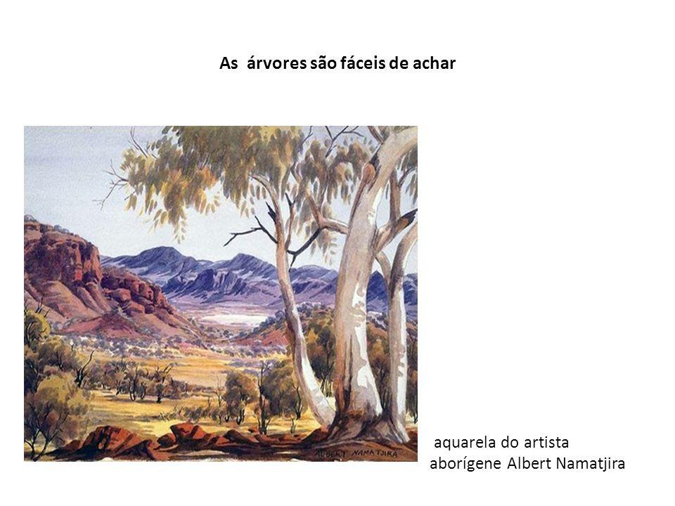 As árvores são fáceis de achar aquarela do artista aborígene Albert Namatjira