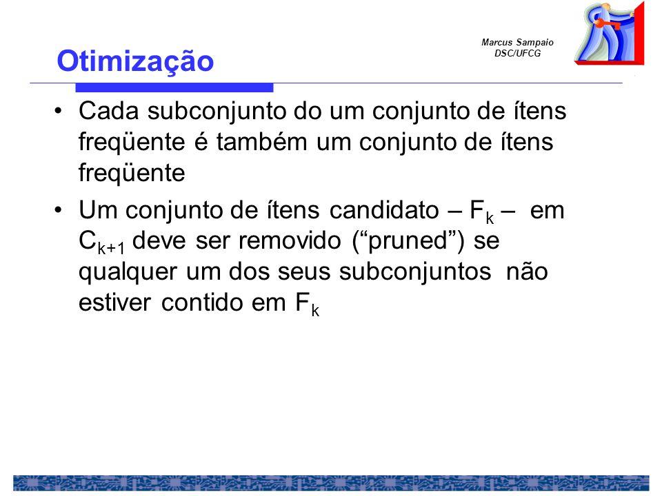 Marcus Sampaio DSC/UFCG Otimização Cada subconjunto do um conjunto de ítens freqüente é também um conjunto de ítens freqüente Um conjunto de ítens can