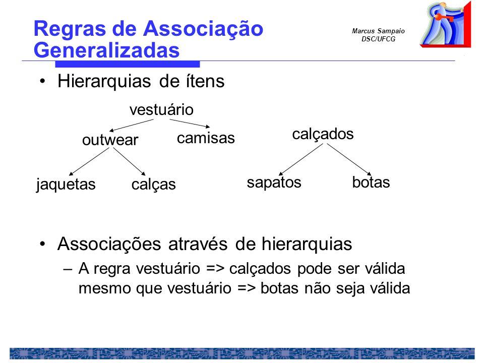 Marcus Sampaio DSC/UFCG Regras de Associação Generalizadas Hierarquias de ítens Associações através de hierarquias –A regra vestuário => calçados pode