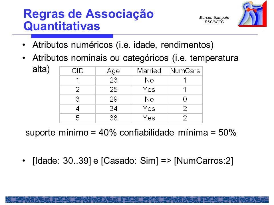 Marcus Sampaio DSC/UFCG Regras de Associação Quantitativas Atributos numéricos (i.e. idade, rendimentos) Atributos nominais ou categóricos (i.e. tempe