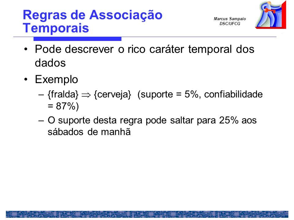 Marcus Sampaio DSC/UFCG Regras de Associação Temporais Pode descrever o rico caráter temporal dos dados Exemplo –{fralda} {cerveja} (suporte = 5%, con