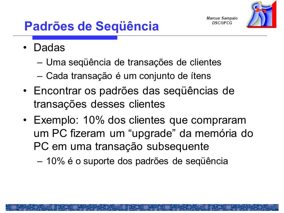 Marcus Sampaio DSC/UFCG Padrões de Seqüência Dadas –Uma seqüência de transações de clientes –Cada transação é um conjunto de ítens Encontrar os padrõe