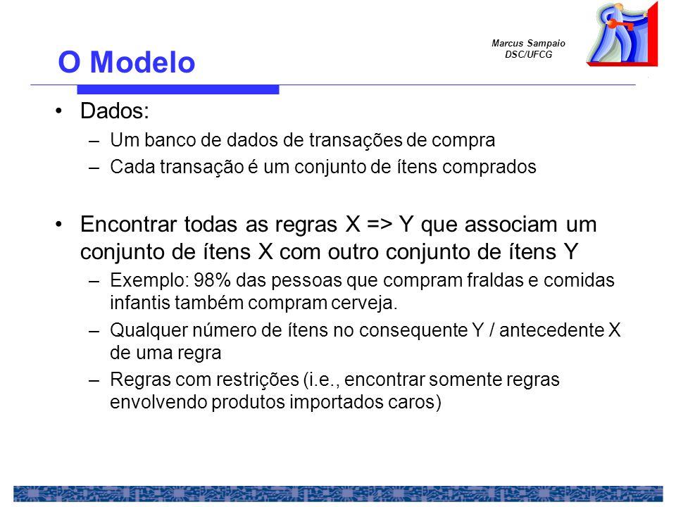 Marcus Sampaio DSC/UFCG Aplicações Perfis de clientes (Market basket analysis) Merchandizing Detecção de fraudes em seguros de saúde Organização de produtos em vitrines de lojas