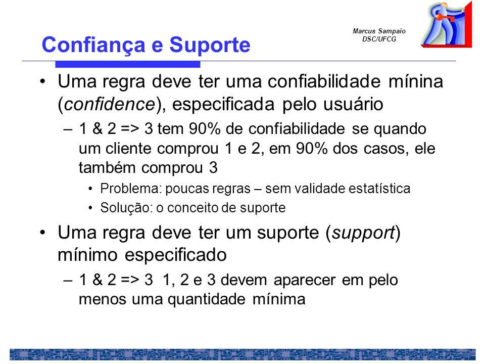 Marcus Sampaio DSC/UFCG Exemplo Exemplo 1 Para suporte mínimo = 50%, e confiabilidade mínima = 50%, temos as seguintes regras –1 => 3 com 50% de suporte e 66% de confiabilidade –3 => 1 com 50% de suporte e 100% de confiabilidade