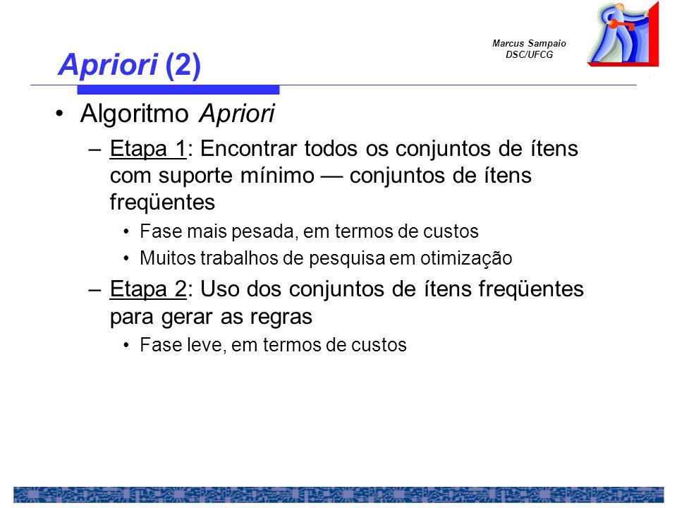 Marcus Sampaio DSC/UFCG Apriori (3) Suporte mínimo = 50% Confiabilidade mínima = 50% Para a regra 1 => 3: Suporte = Suporte({1, 3}) = 50% Confiabilidade = Suporte({1,3})/Suporte({1}) = 66%