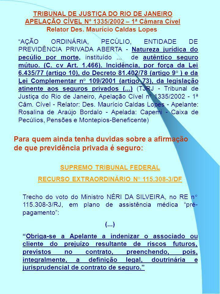 TRIBUNAL DE JUSTIÇA DO RIO DE JANEIRO APELAÇÃO CÍVEL N° 1335/2002 – 1ª Câmara Cível Relator Des. Maurício Caldas Lopes AÇÃO ORDINÁRIA, PECÚLIO, ENTIDA