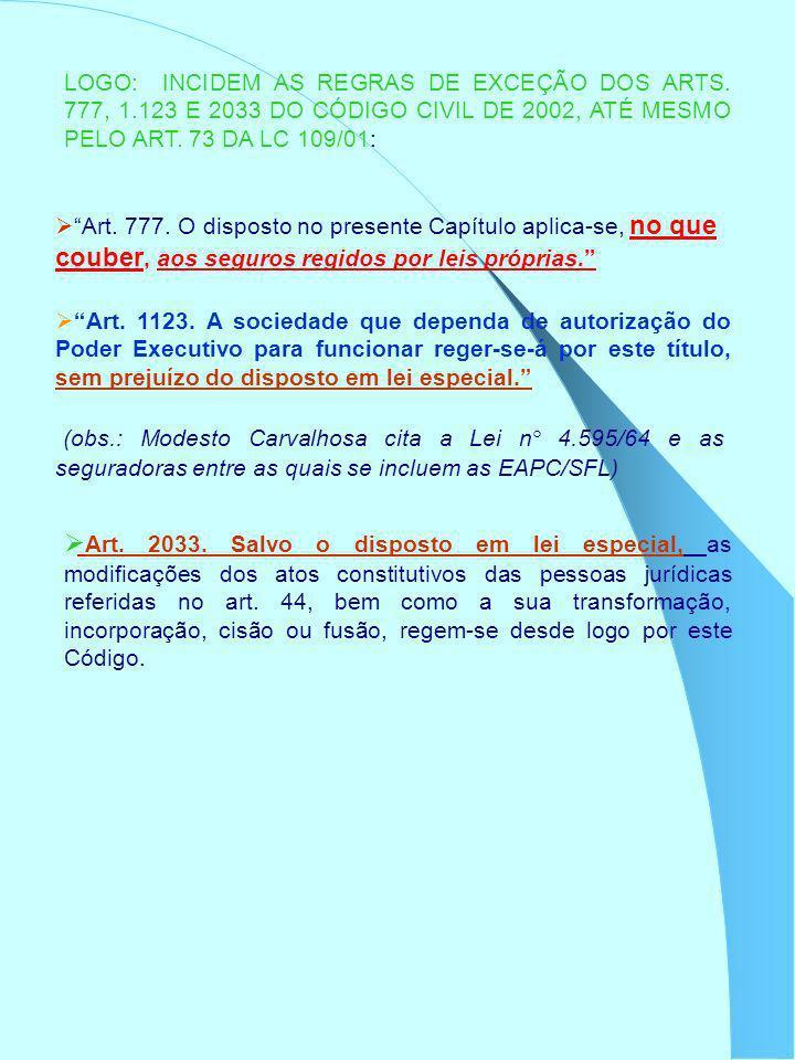 LOGO: INCIDEM AS REGRAS DE EXCEÇÃO DOS ARTS. 777, 1.123 E 2033 DO CÓDIGO CIVIL DE 2002, ATÉ MESMO PELO ART. 73 DA LC 109/01: Art. 777. O disposto no p