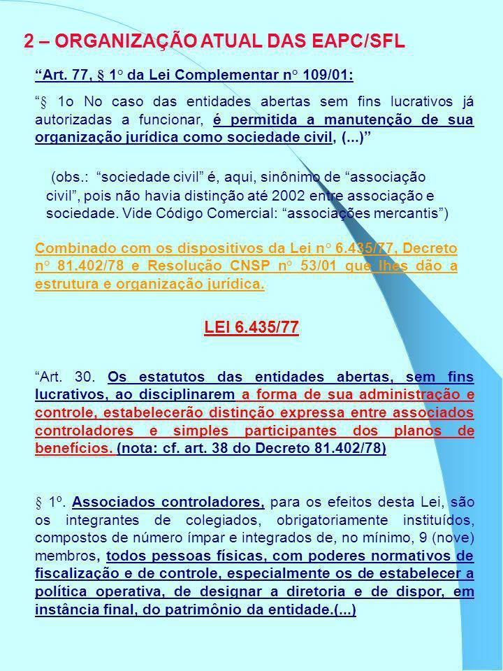 2 – ORGANIZAÇÃO ATUAL DAS EAPC/SFL Art. 77, § 1° da Lei Complementar n° 109/01: § 1o No caso das entidades abertas sem fins lucrativos já autorizadas