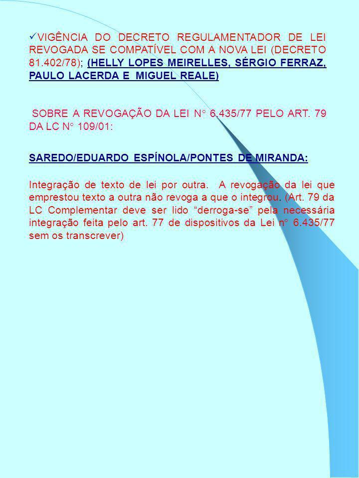 VIGÊNCIA DO DECRETO REGULAMENTADOR DE LEI REVOGADA SE COMPATÍVEL COM A NOVA LEI (DECRETO 81.402/78); (HELLY LOPES MEIRELLES, SÉRGIO FERRAZ, PAULO LACE