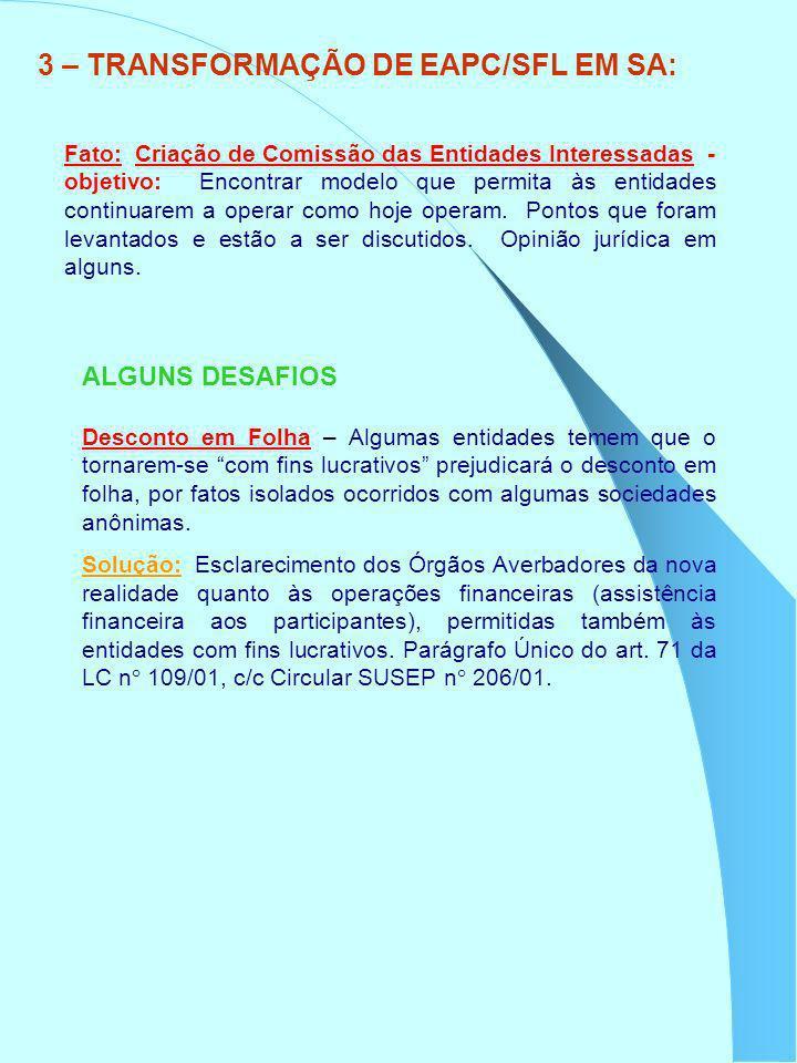 3 – TRANSFORMAÇÃO DE EAPC/SFL EM SA: Fato: Criação de Comissão das Entidades Interessadas - objetivo: Encontrar modelo que permita às entidades contin