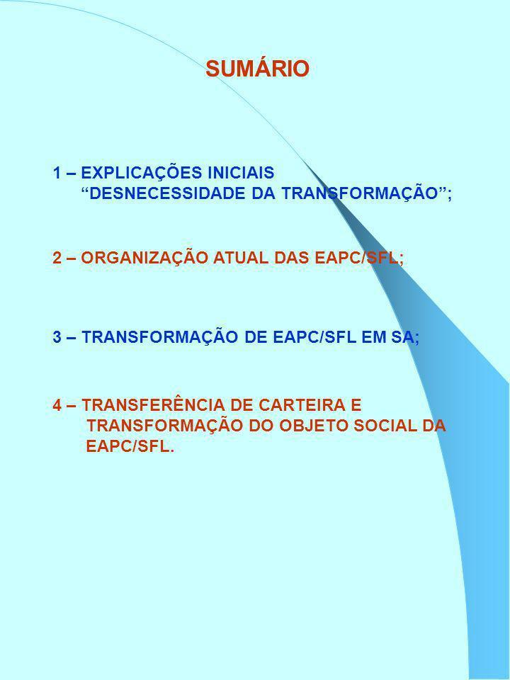 SUMÁRIO 1 – EXPLICAÇÕES INICIAIS DESNECESSIDADE DA TRANSFORMAÇÃO; 2 – ORGANIZAÇÃO ATUAL DAS EAPC/SFL; 3 – TRANSFORMAÇÃO DE EAPC/SFL EM SA; 4 – TRANSFE