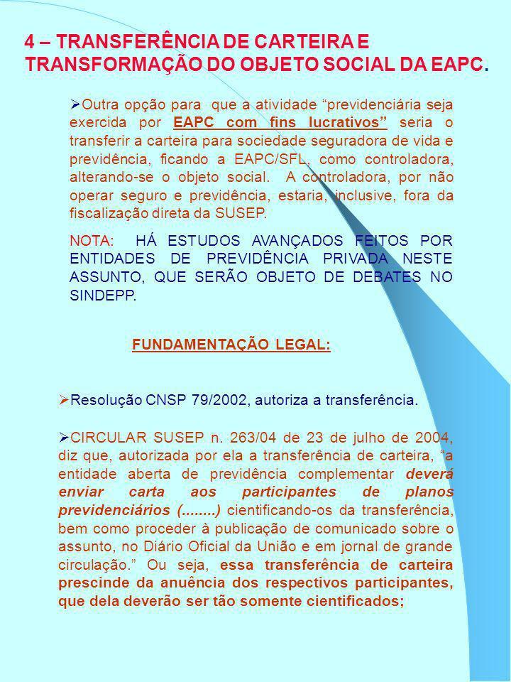 4 – TRANSFERÊNCIA DE CARTEIRA E TRANSFORMAÇÃO DO OBJETO SOCIAL DA EAPC. Outra opção para que a atividade previdenciária seja exercida por EAPC com fin