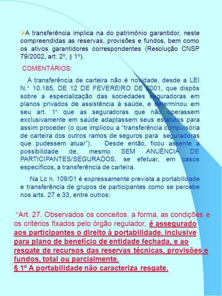 A transferência implica na do patrimônio garantidor, neste compreendidas as reservas, provisões e fundos, bem como os ativos garantidores corresponden