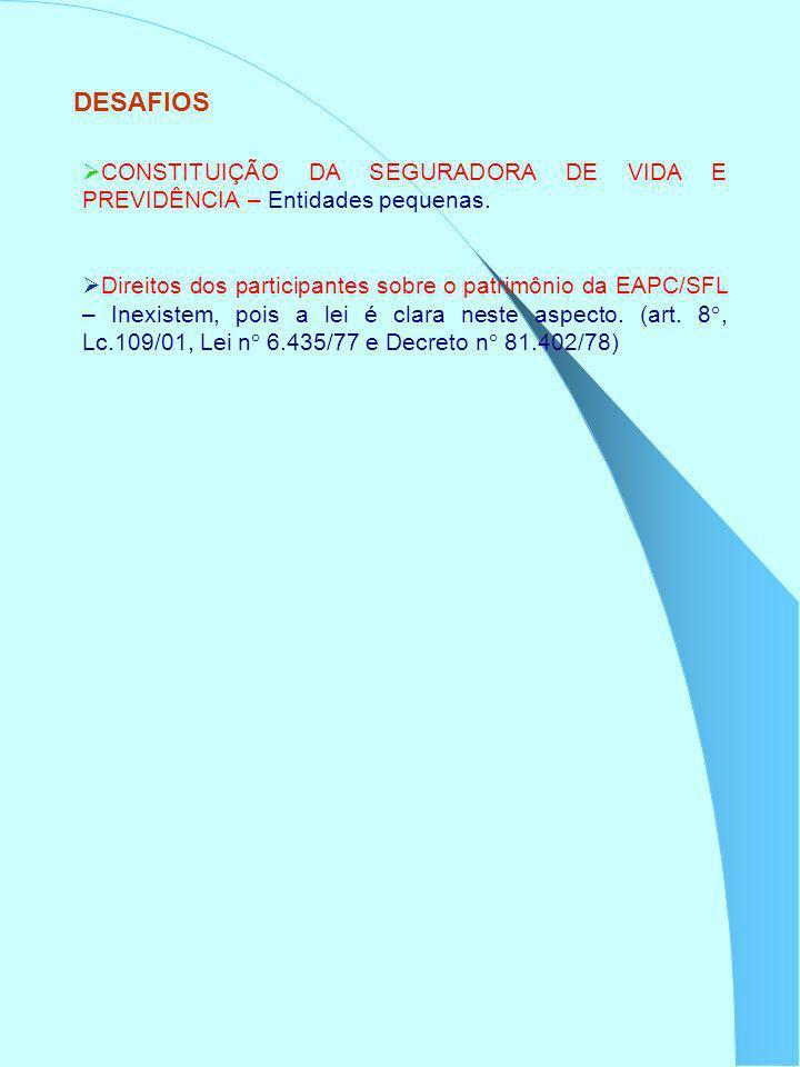 DESAFIOS CONSTITUIÇÃO DA SEGURADORA DE VIDA E PREVIDÊNCIA – Entidades pequenas. Direitos dos participantes sobre o patrimônio da EAPC/SFL – Inexistem,