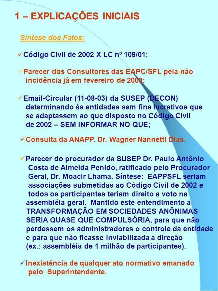Síntese dos Fatos: Código Civil de 2002 X LC nº 109/01; Parecer dos Consultores das EAPC/SFL pela não incidência já em fevereiro de 2003; Email-Circul