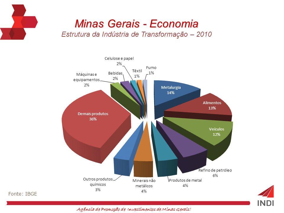 Agência de Promoção de Investimentos de Minas Gerais! Fonte: IBGE Minas Gerais - Economia Estrutura da Indústria de Transformação – 2010