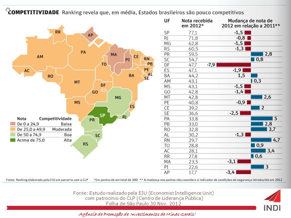 Agência de Promoção de Investimentos de Minas Gerais! Fonte: Estudo realizado pela EIU (Economist Intelligence Unit) com patrocínio do CLP (Centro de