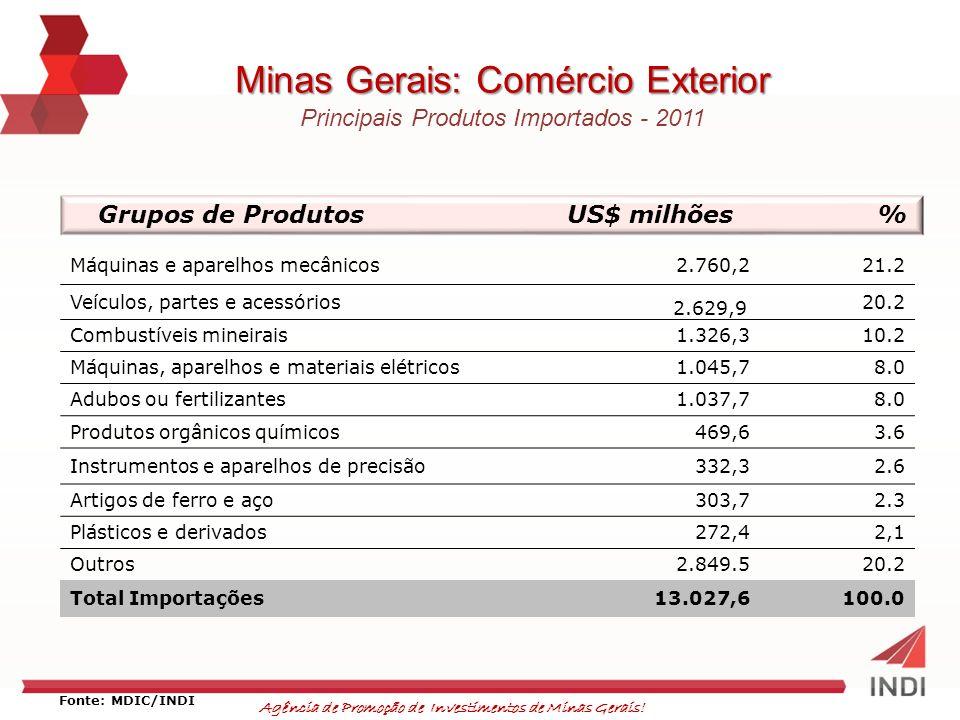 Agência de Promoção de Investimentos de Minas Gerais! Minas Gerais: Comércio Exterior Principais Produtos Importados - 2011 Grupos de ProdutosUS$ milh