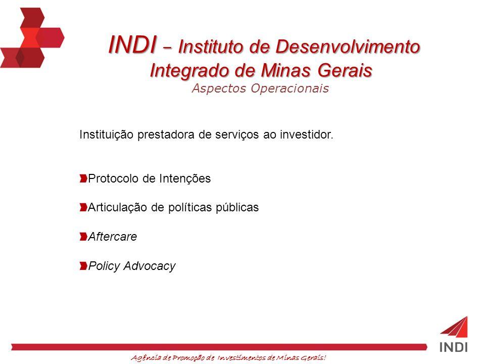 Agência de Promoção de Investimentos de Minas Gerais! INDI – Instituto de Desenvolvimento INDI – Instituto de Desenvolvimento Integrado de Minas Gerai
