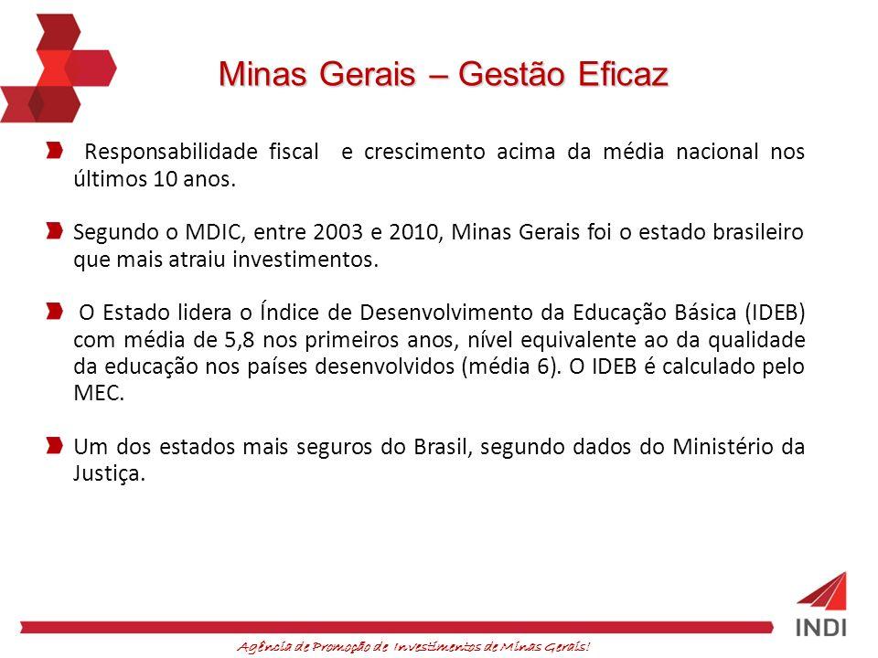 Agência de Promoção de Investimentos de Minas Gerais! Minas Gerais – Gestão Eficaz Responsabilidade fiscal e crescimento acima da média nacional nos ú