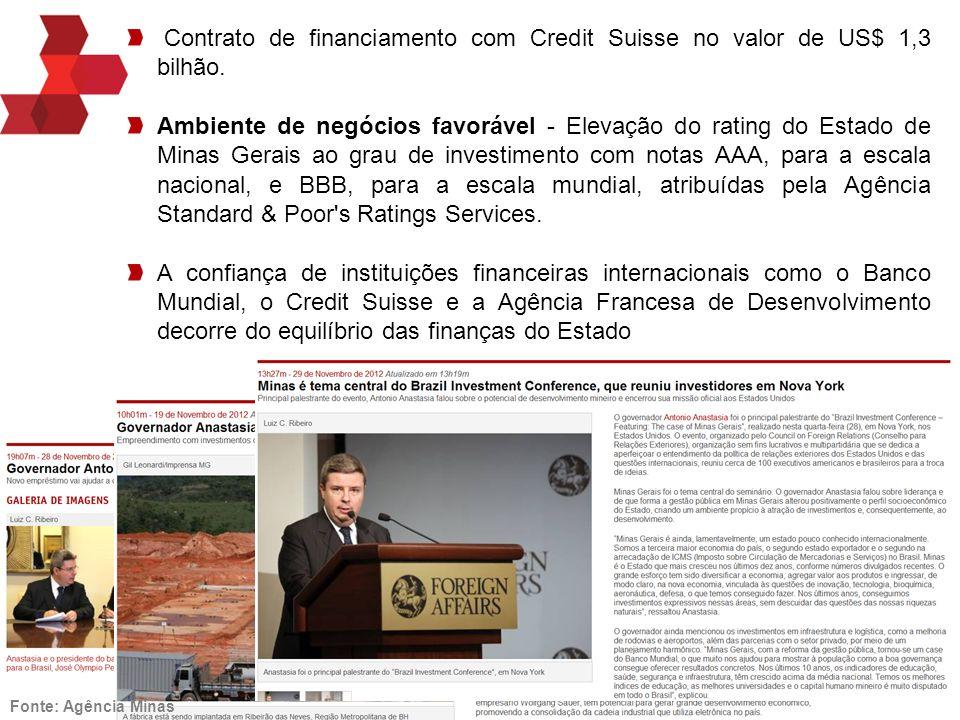 Agência de Promoção de Investimentos de Minas Gerais! Contrato de financiamento com Credit Suisse no valor de US$ 1,3 bilhão. Ambiente de negócios fav