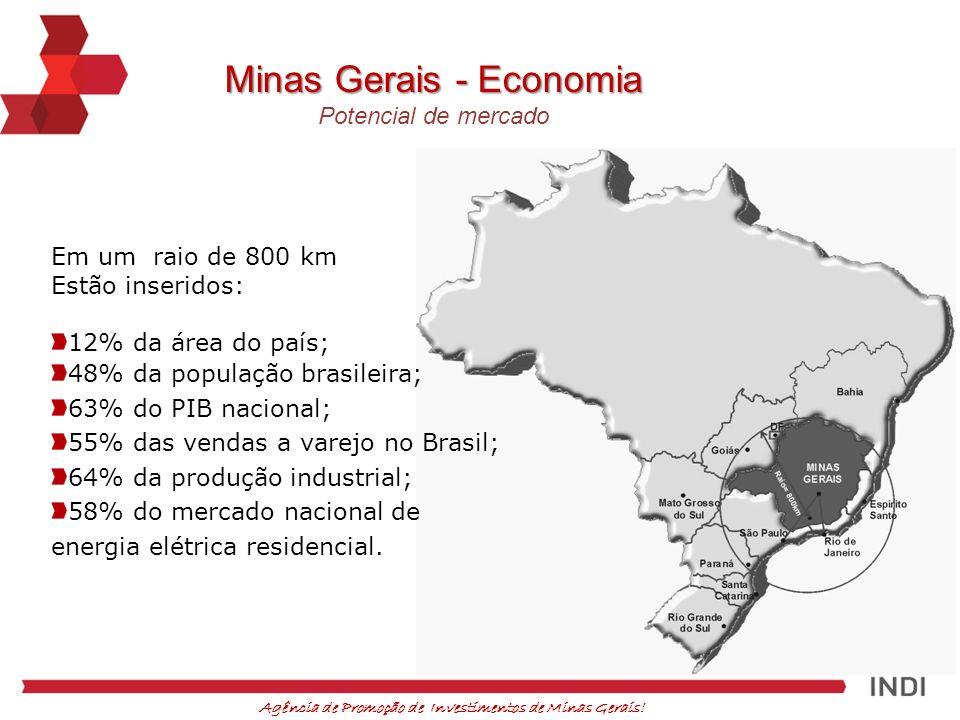 Agência de Promoção de Investimentos de Minas Gerais! Em um raio de 800 km Estão inseridos: 12% da área do país; 48% da população brasileira; 63% do P