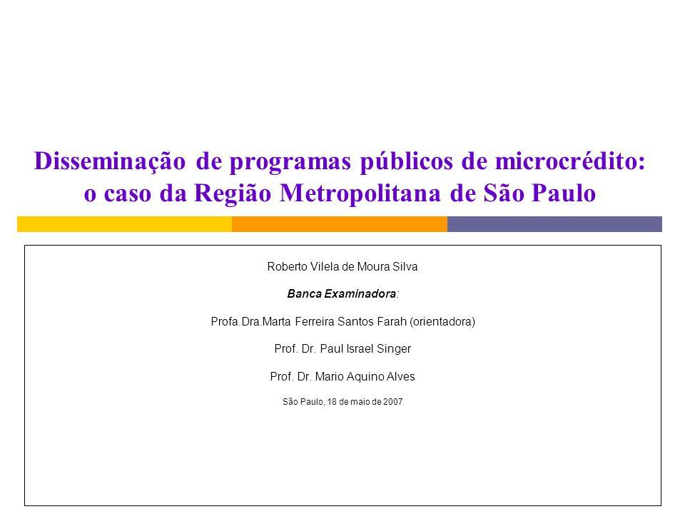 Disseminação de programas públicos de microcrédito: o caso da Região Metropolitana de São Paulo Roberto Vilela de Moura Silva Banca Examinadora: Profa.Dra.Marta Ferreira Santos Farah (orientadora) Prof.