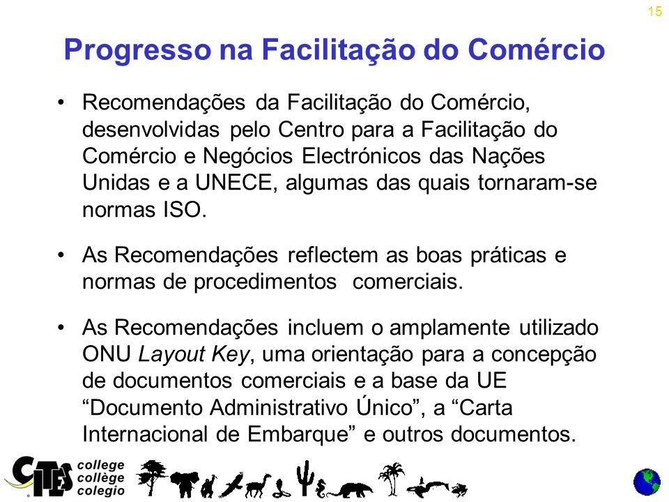 15 Progresso na Facilitação do Comércio Recomendações da Facilitação do Comércio, desenvolvidas pelo Centro para a Facilitação do Comércio e Negócios Electrónicos das Nações Unidas e a UNECE, algumas das quais tornaram-se normas ISO.