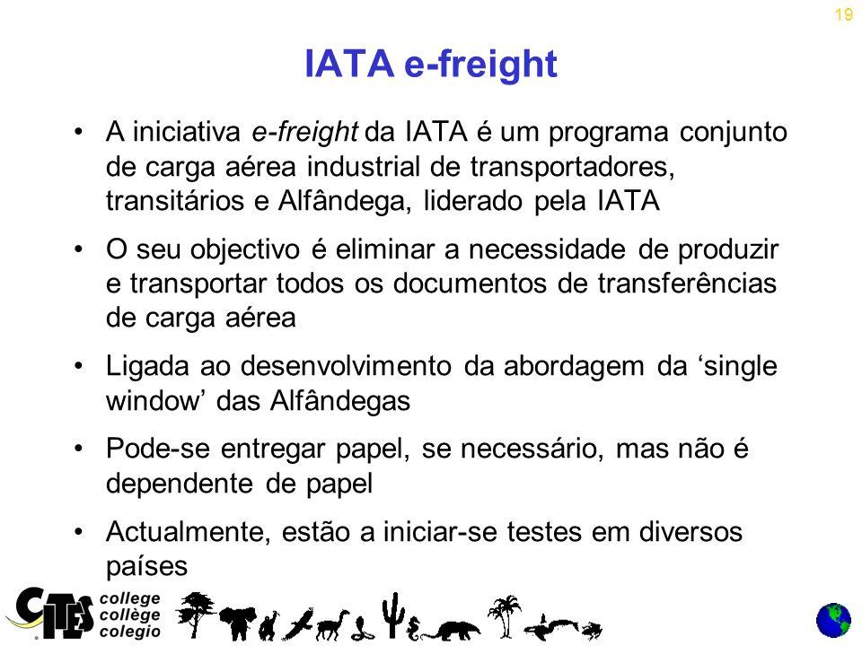 19 IATA e-freight A iniciativa e-freight da IATA é um programa conjunto de carga aérea industrial de transportadores, transitários e Alfândega, liderado pela IATA O seu objectivo é eliminar a necessidade de produzir e transportar todos os documentos de transferências de carga aérea Ligada ao desenvolvimento da abordagem da single window das Alfândegas Pode-se entregar papel, se necessário, mas não é dependente de papel Actualmente, estão a iniciar-se testes em diversos países