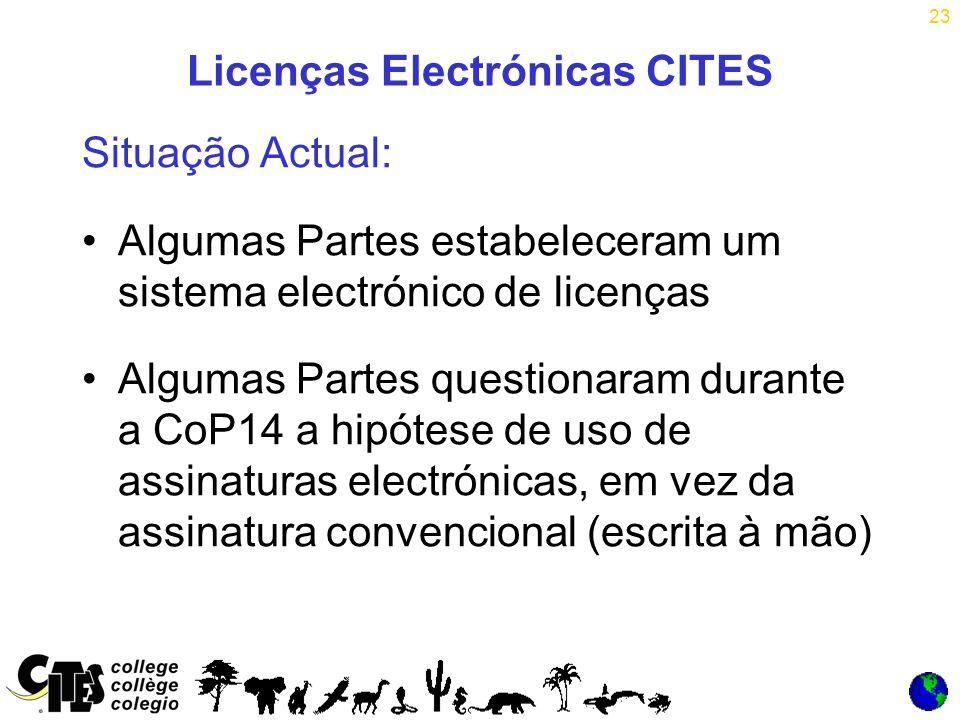 23 Licenças Electrónicas CITES Situação Actual: Algumas Partes estabeleceram um sistema electrónico de licenças Algumas Partes questionaram durante a CoP14 a hipótese de uso de assinaturas electrónicas, em vez da assinatura convencional (escrita à mão)