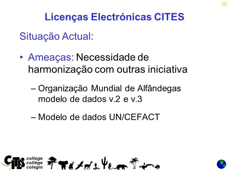 26 Licenças Electrónicas CITES Situação Actual: Ameaças: Necessidade de harmonização com outras iniciativa –Organização Mundial de Alfândegas modelo de dados v.2 e v.3 –Modelo de dados UN/CEFACT
