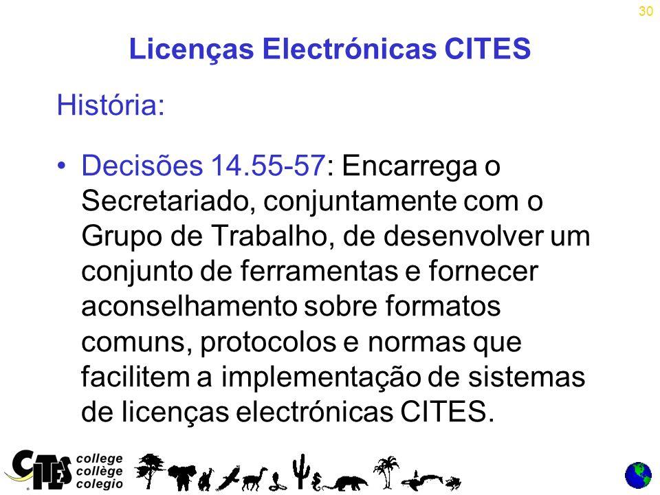 30 Licenças Electrónicas CITES História: Decisões 14.55-57: Encarrega o Secretariado, conjuntamente com o Grupo de Trabalho, de desenvolver um conjunto de ferramentas e fornecer aconselhamento sobre formatos comuns, protocolos e normas que facilitem a implementação de sistemas de licenças electrónicas CITES.
