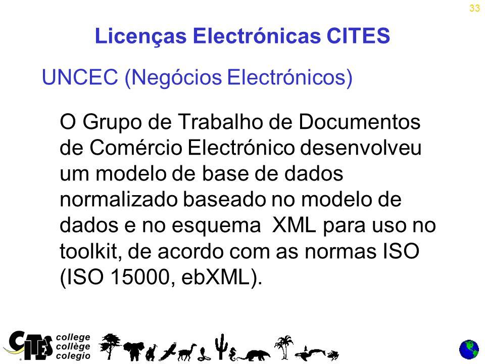 33 Licenças Electrónicas CITES UNCEC (Negócios Electrónicos) O Grupo de Trabalho de Documentos de Comércio Electrónico desenvolveu um modelo de base de dados normalizado baseado no modelo de dados e no esquema XML para uso no toolkit, de acordo com as normas ISO (ISO 15000, ebXML).