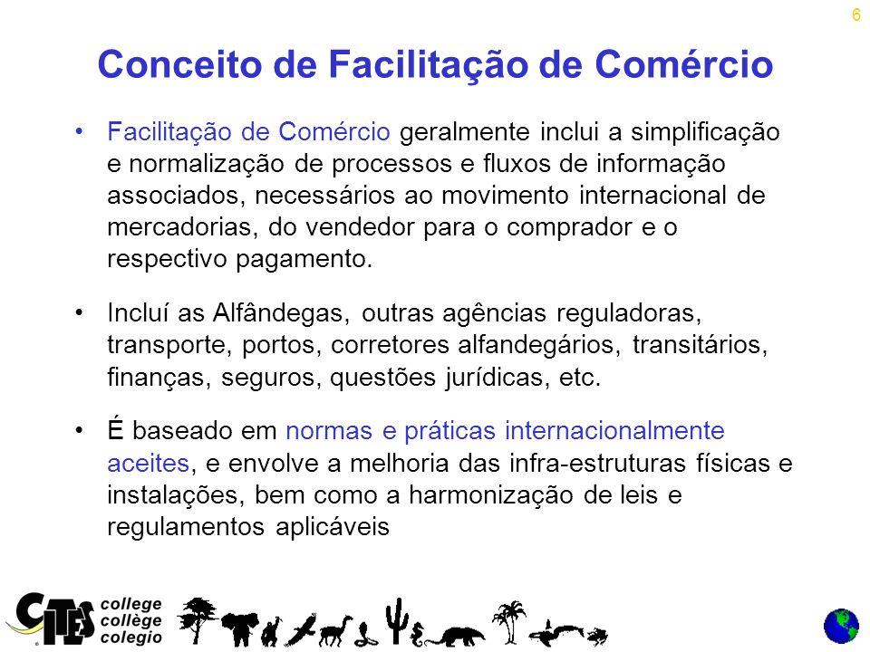 6 Conceito de Facilitação de Comércio Facilitação de Comércio geralmente inclui a simplificação e normalização de processos e fluxos de informação associados, necessários ao movimento internacional de mercadorias, do vendedor para o comprador e o respectivo pagamento.